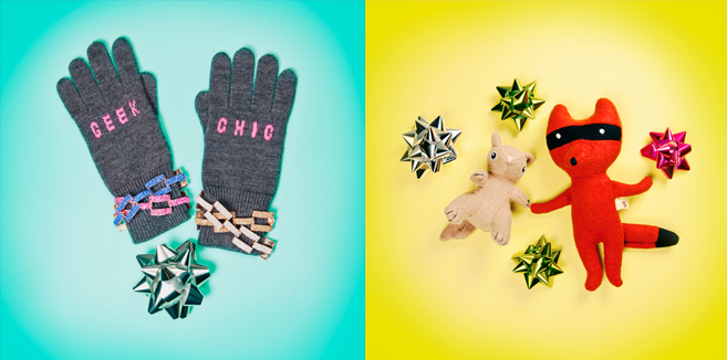Glossed & Found Gift Guide_dog toys and geek chic gloves