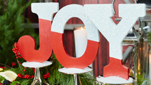 Peace! Merry! Joy! Transform standard papier maché, wooden or cardboard letters from the craft store into a stylish holiday mantra. We're staying true to the classic crimson roots of the season with a bold red paint paired with an iridescent sparkle. Place these painted and glittered letters atop your bar cart for added joy to all—plus a perfect roadmap for guests to find their way to the bubbles. Be it